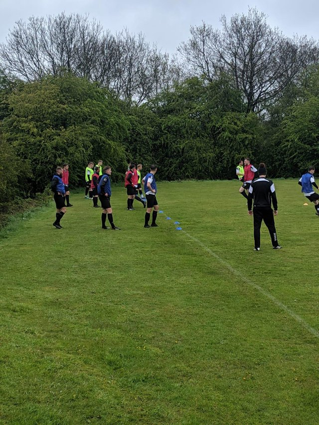 Glapwell warm up for their win over Derby.