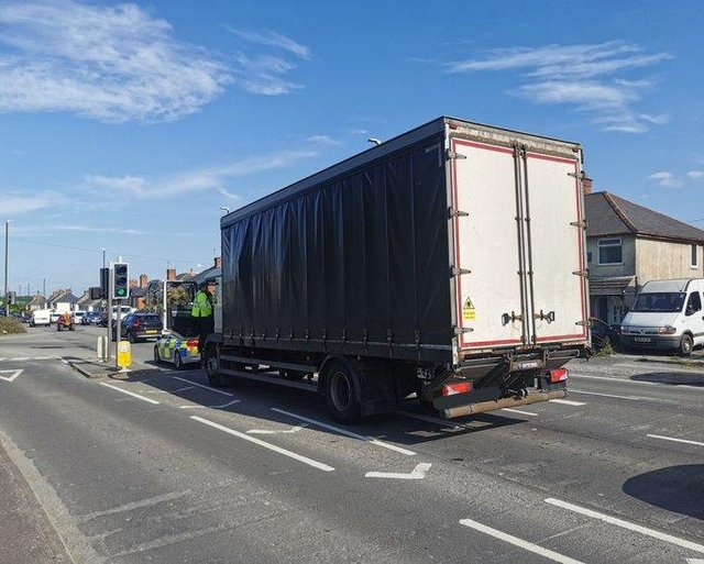 The lorry which run out of fuel. Picture posted on Twitter by Derbyshire Roads Policing Unit.
