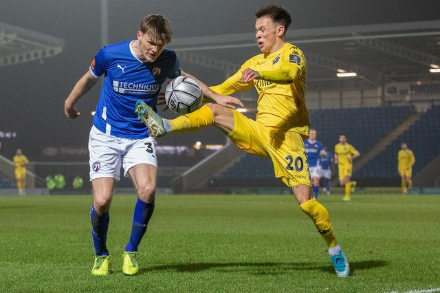 Fraser Kerr made his Chesterfield debut in the win against Eastleigh. Picture: Tina Jenner.