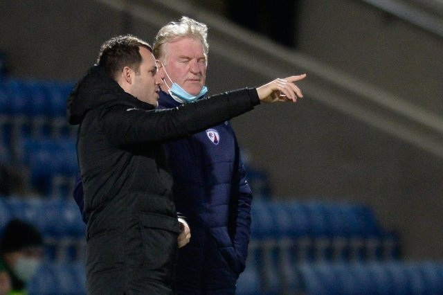 Spireites manager James Rowe pictured with his assistant George Foster.
