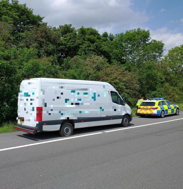 The drug driver was arrested by police on the M1 yesterday