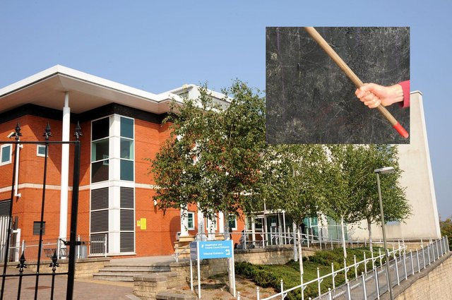 Anthony Smith, 31, and Neil Cope, 46, were seen beating their victim on the flats' communal garden with a mop handle and a metal exercise bar