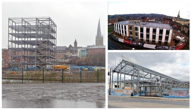 New offices are under construction at Chesterfield Waterside, on part of the Donut roundabout and opposite the Proact Stadium on Sheffield Road. Pictures taken in spring this year.