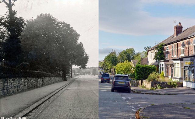 Now and then picture Hasland Road Chesterfield