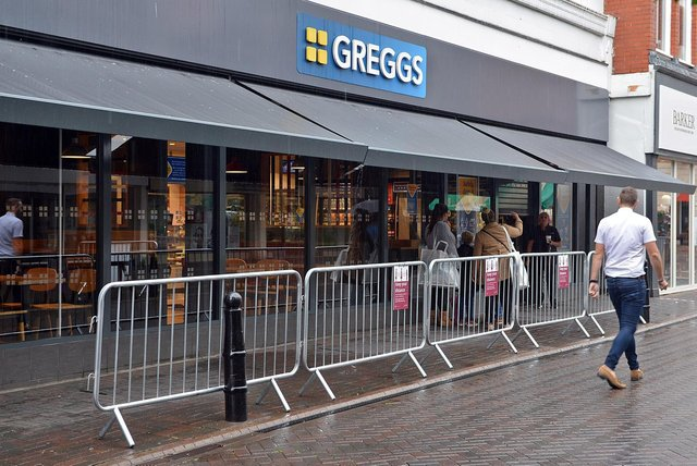 One of the Greggs in Chesterfield town centre.
