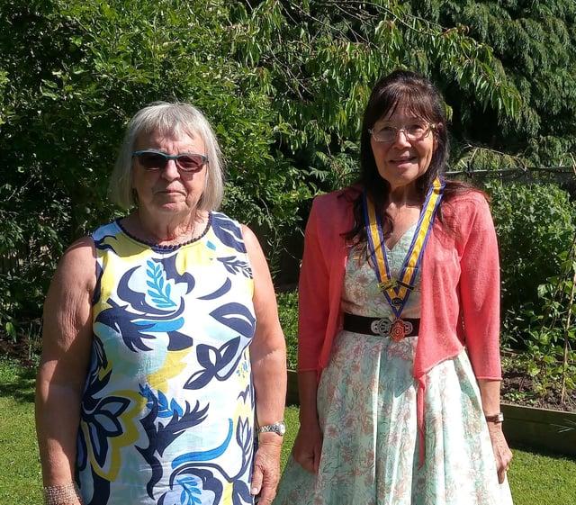 Dr Cheryl Battye, new president of Clay Cross Inner Wheel, with Sonia Worthy, past president.