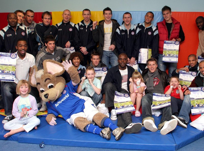 Chesterfield Football Club players and mascot Chester the Fieldmouse brought cheer to the children's ward in 2006.