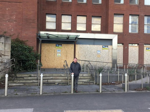 Councillor Howard Borrell outside North East Derbyshire District Council's former office on Saltergate in Chesterfield.