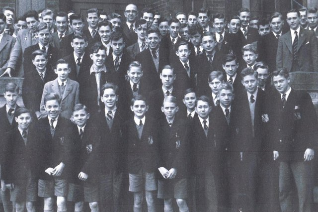 John Tranter at Chesterfield Grammar School's speech day in 1957 at the Bradbury Hall. He is boy on the second row with no tie. John said he had left school by then but bosses at  Sheepbridge Equipment gave him the afternoon off to attend.