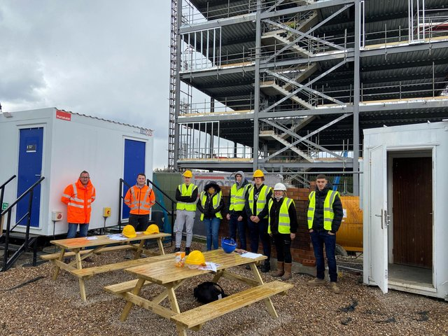 Chesterfield College students at the site of the major development.