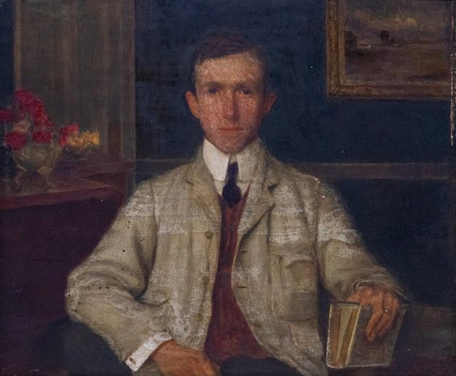 Portrait of Phillip Rivière by Leonard Campbell Taylor, oil on board, signed, sold for £3,600.