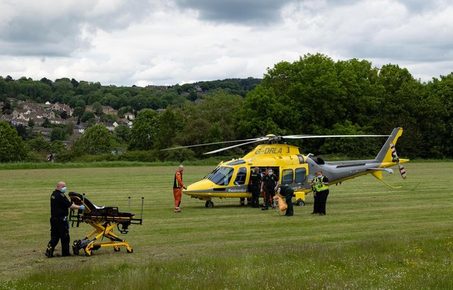 A man has been airlifted to hospital after collapsing near to a school in Matlock (picture: Alastair Newton)