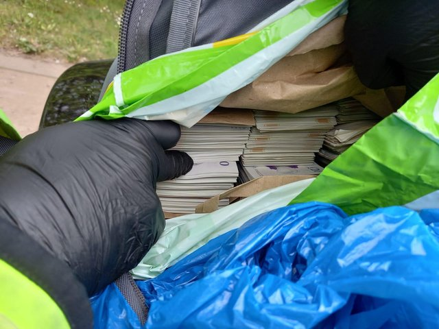 Officers found £55,000 inside an Asda bag for life after they stopped a vehicle in Derbyshire.
