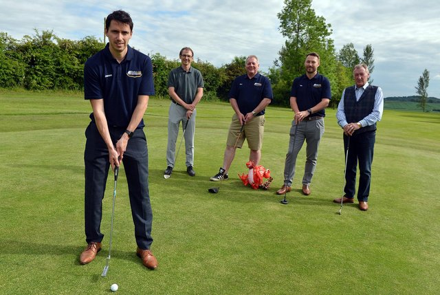 Shirland Golf and Country Club are hosting a team from AutoWindscreens on Monday 21st June 2021 for their 72 Hole Golf challenge in aid of Prostate Cancer UK. Front James Reynolds from AutoWindscreens, Richard Coates golf club chairman, Dave Bingham, Tim Poole from AutoWindscreens and George Wishart director Shirland Country club.