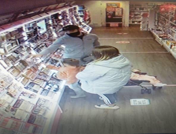 Police are hunting this couple after a £500 theft at a Matlock Superdrug store