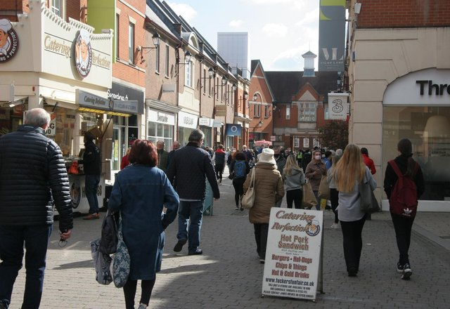 Shoppers pictured as they returned to Chesterfield town centre on Monday