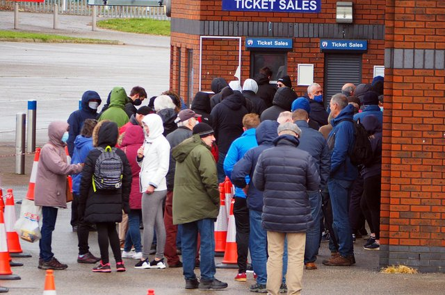 Chesterfield fans have been queueing for tickets for Saturday's match.