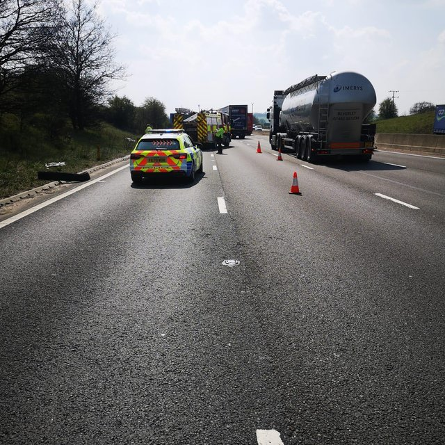 The M1 is closed in both directions from junction 29 near to Chesterfield to junction 29A due to fallen power lines.