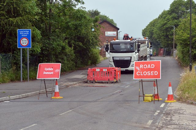 The scene at Works Road, Hollingwood, today where he route has been closed for two weeks by Severn Trent.