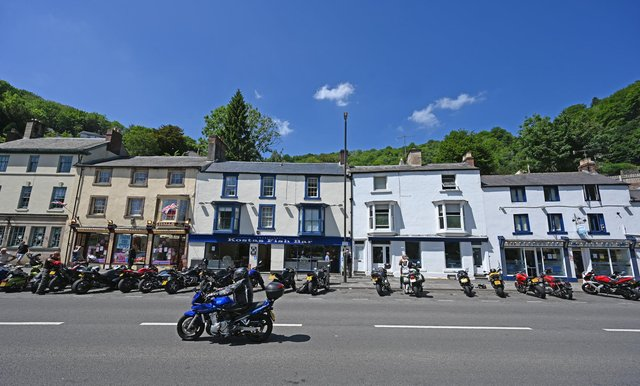 A familiar sight: Motorcyclists park their bikes on the road in Matlock Bath in the Peak District in northern England. (Photo by PAUL ELLIS/AFP via Getty Images)