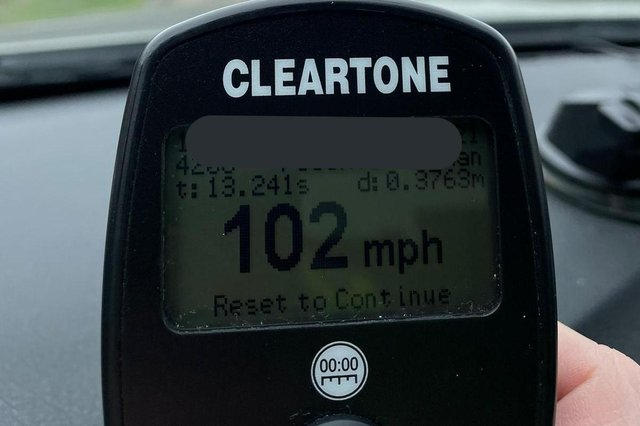 The driver was clocked doing 102mph