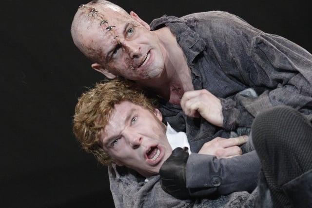 Jonny Lee Miller as The Creature and Benedict Cumberbatch as Victor Frankenstein.