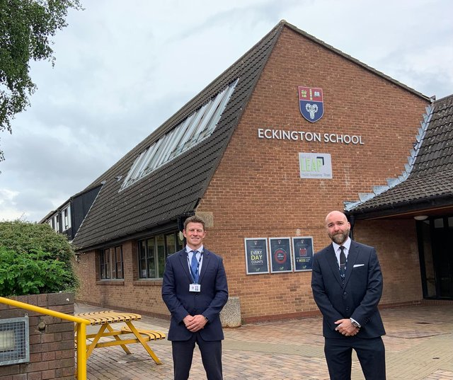 Eckington School principal Nick Melson pictured with Year 11 Leader of Student Development, Paul Wigfull, who organised the end-of-year prom