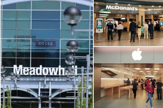 A number of non-essential shops and eateries at Meadowhall are either offering click and collect, take-out and delivery. Pictures on the right taken before social-distancing