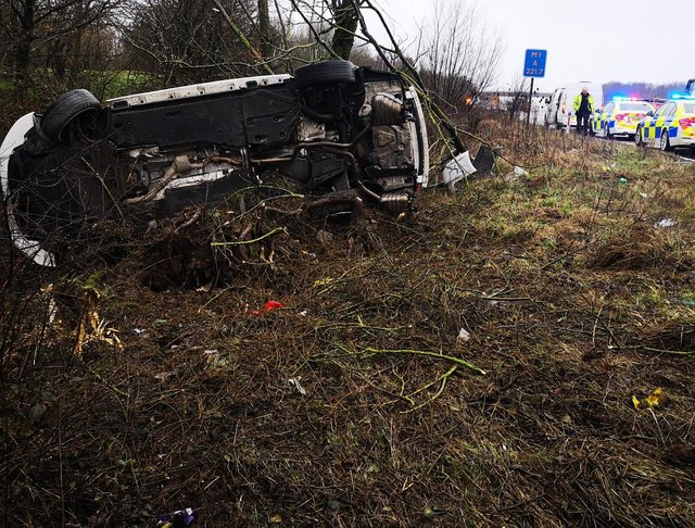 The driver of this Audi ended up at the bottom of a verge on the M1 North near Tibshelf after crashing into a van