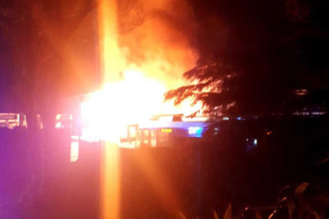 A bus caught on fire at 2.46am on Calver Road in Baslow this morning (Tuesday, May 18).