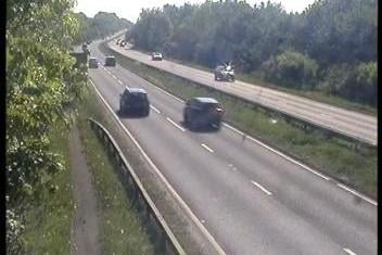 Animals in the road have forced a lane on the A38 southbound in Derbyshire to be closed. Credit: Highways England.