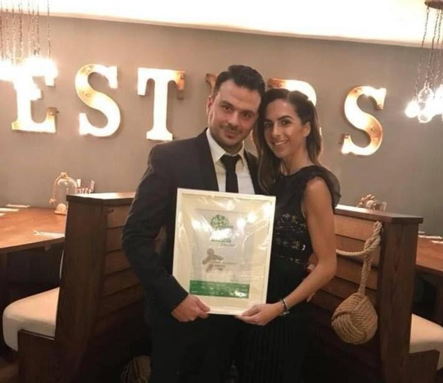 Chris Ioannides with his wife Chrisoulla when Chesters enjoyed success in the Chesterfield Food and Drink Awards.