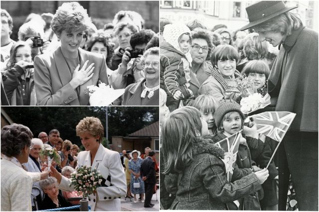 Princess Diana in Chesterfield town centre in 1981, at Whittington Hall Hospital in 1993 and in Riddings in 1992, pictured clockwise from right.