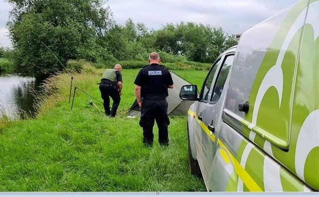 Officers during the crackdown on illegal fishing in Derbyshire