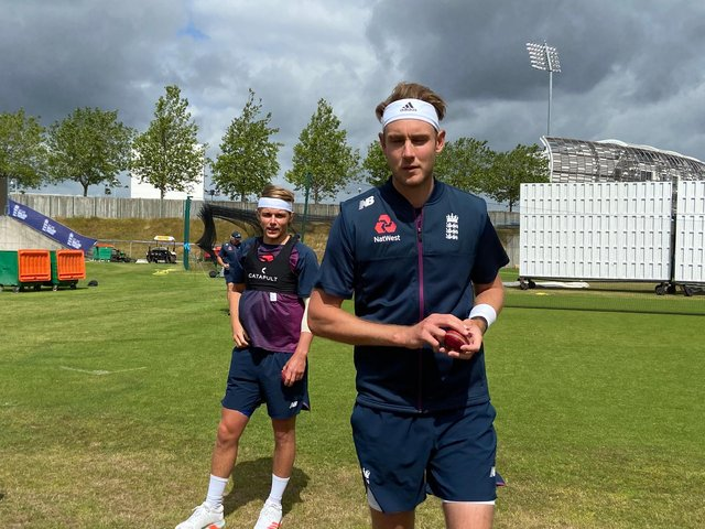 Stuart Broad prepares to bowl during England's training camp.