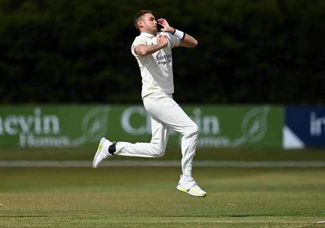 Stuart Broad. (Photo by Gareth Copley/Getty Images)