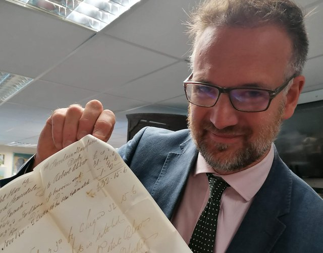 Charles Hanson with Lord Scarsdale letter.