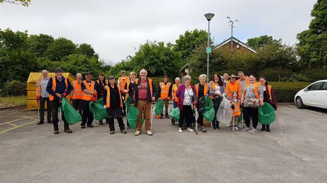 Litter pickers gather for The Great British Spring Clean in Holmewood.