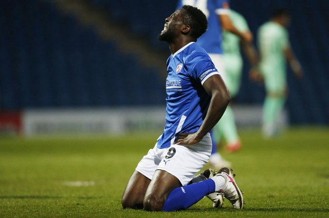 Chesterfield were held to a goalless draw against Boreham Wood on Tuesday night. Pictured: Akwasi Asante.
