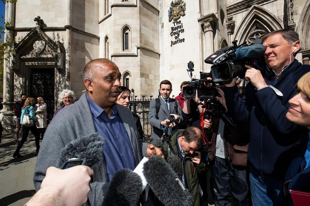 Harjinder Butoy spoke to the press after his conviction was overturned. Picture from Hudgell Solicitors.