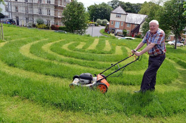 David France and his grass labyrinth.