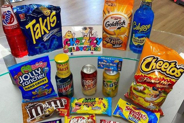 A range of imported confectionery that Chezzy Flavours sells.