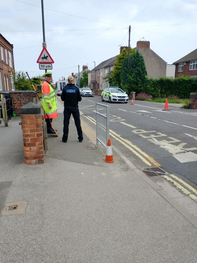 Officers from Staveley Safer Neighbourhood Team conducted speed checks outside Brimington Manor Infant and Nursery School on Friday