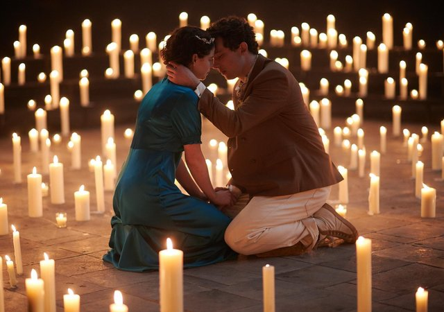 Jessie Buckley and Josh O'Connell in the National Theatre's film Romeo and Juliet.
