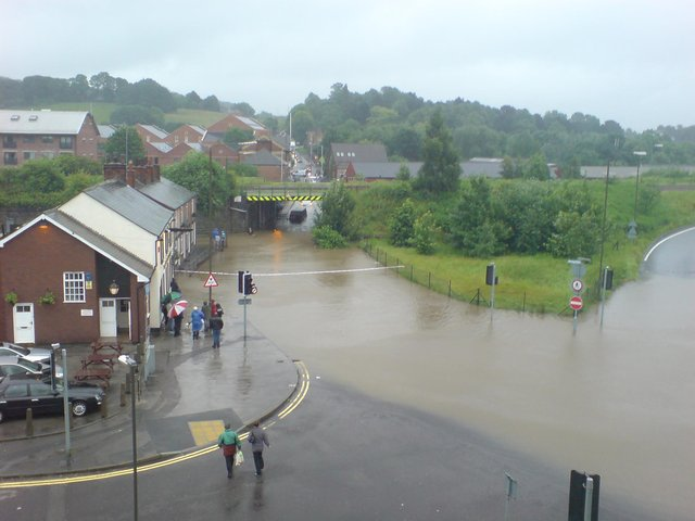 Flooding on Hady Hill, Chesterfield, on June 25, 2007. Photo by Dan Abel.