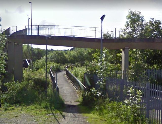 The footbridge at the bottom of Wharf Lane in Chesterfield. Picture from Google.