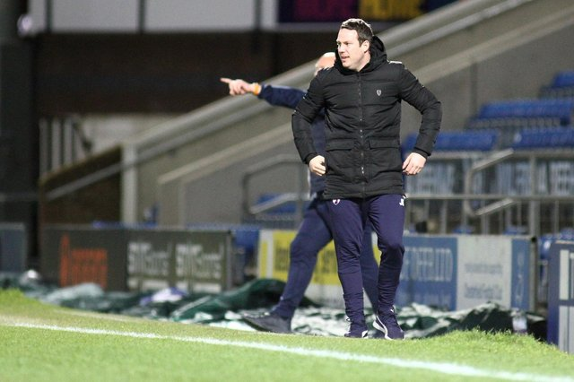 Chesterfield manager James Rowe pictured on the touchline against Sutton United.