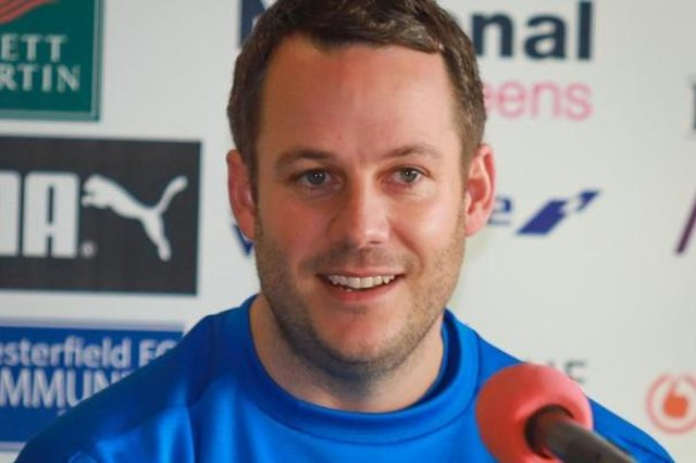 James Rowe at his first press conference as Chesterfield manager. Picture: Michael South.