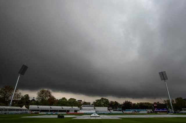 The covers were on as rain delayed the start of play during the LV= Insurance County Championship match between Essex and Derbyshire at Cloudfm County Ground on May 13, 2021 in Chelmsford, England.   (Photo by Justin Setterfield/Getty Images)